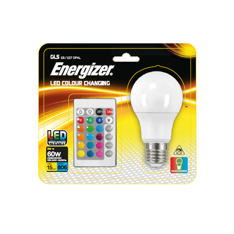 ENERGIZER RGB LED Pære 806LM E27 9W med fjernbetjening